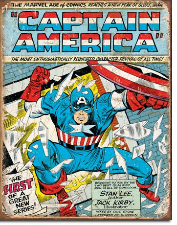 Captain America Comic Cover Weathered Tin Sign