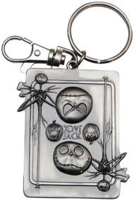 Nightmare Before Christmas Jack Skellington Square Pewter Keychain