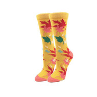 Autumn Leaves One Size Fits Most Yellow Ladies Crew Socks