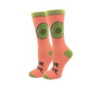 Avocado Love One Size Fits Most Orange Ladies Crew Socks
