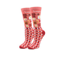 Basic Brunch One Size Fits Most Red Ladies Crew Socks