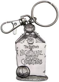 Nightmare Before Christmas Jack Skellington and Tombstone Pewter Keychain