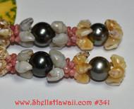 "2 3/4"" Niihau Momi & Tahitian pearl earrings  モミ- タヒチ真珠 ピアス  # 341"