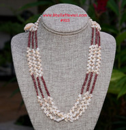 "27.5"" 3 stands Momi & burgundy Kahelelani shell lei #823"