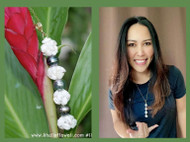 "22""Momi Cowrie flower & Tahitian pearls pendant #188"