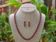 Matching set lei, earrings burgundy Kahelelani two strands twisted #310
