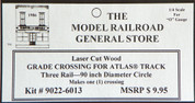 "Atlas O 3-rail 90"" Railroad Crossing for curved sectonal track"