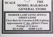 Green Lens Jewels for Marker Lamps, clear Back, no reflector