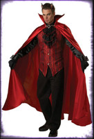 Adult Deluxe Quality Gothic Handsome Devil Satin Red Demon Halloween Costume