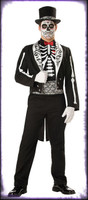 Adult Deluxe Quality Gothic Graveyard Groom Skeleton Suit Halloween Costume