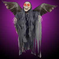 """50"""" Wing Span Animated Winged Flying Reaper Skeleton Halloween Prop Decoration"""