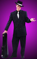 Adult Black or Blue White Pin-Striped Mafia Gangster Zoot Suit Halloween Costume