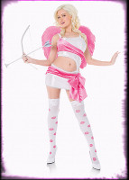 Sexy Playboy Cupid Angel White & Pink Dress w/ Accessories Halloween Costume