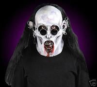 Gothic Vampire w Hair Sunglasses Halloween Mask Costume
