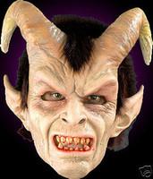 Elegant Devil Evil Demon w/ Hair Halloween Mask Costume