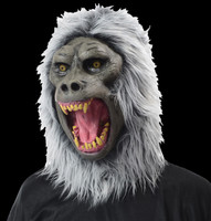 Realistic Gray Rabid Gaping Mouth Baboon  Halloween Costume Mask