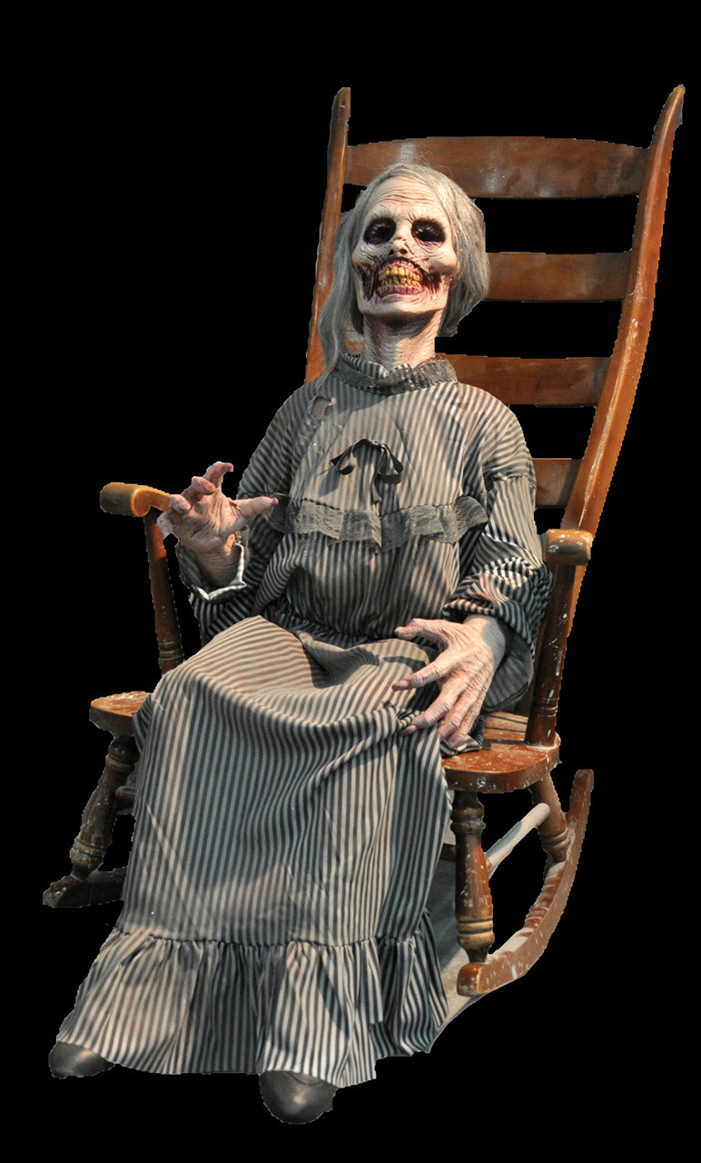 cheap for discount b9f5d 022ee Life Size Animated Mother Granny Corpse Zombie Ghost Rocking Halloween Prop  Decor