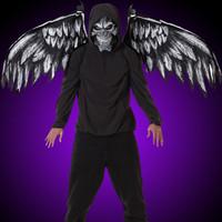 Gothic Fallen Angel Dark Mask & Wings Halloween Costume Accessories