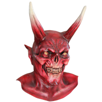 The Red Devil Satan Diablo Evil Horned Skull Halloween Costume Mask