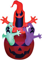 7' tall Neon Pumpkin w/ 3 Ghosts Air blown Inflatable Halloween Yard Decor Decoration