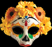 Day of the Dead Sugar Skull Female Yellow Halloween Costume Face Mask