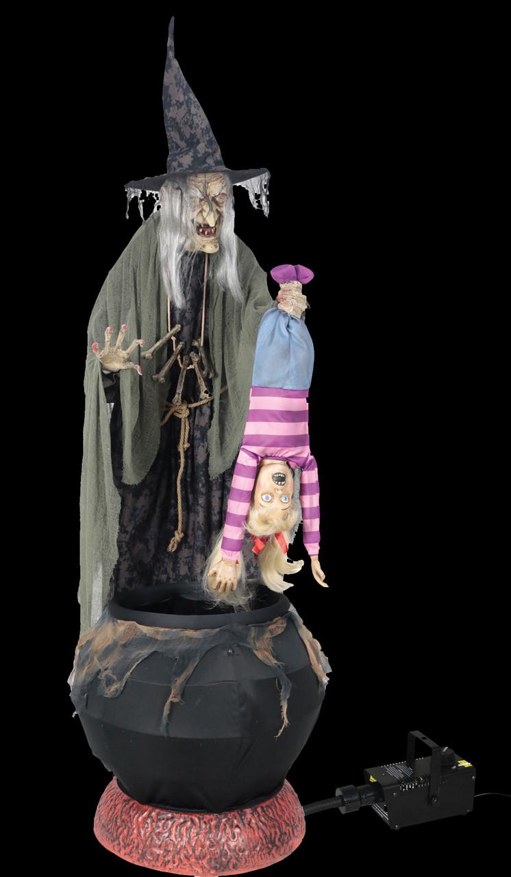 """80"""" tall animated life size wicked witch brew w/ kid w/ fog"""