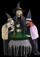 Life Size Animated Stitch Sisters Trio Swamp Hag Wicked Witch Halloween Prop