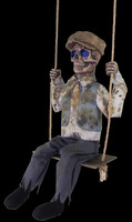 Life Size Animated Victorian Haunted Swinging Skeletal Boy Halloween Prop Decor