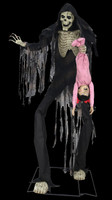 """84"""" Life Size Animated Towering Boogey Man w/ Kid Monster Halloween Prop Decor"""
