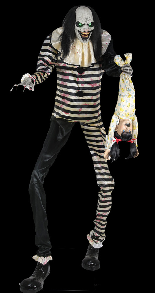 7 Tall Life Size Animated Killer Clown Holding Screaming Child
