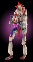 7' tall life Size Animated Cagey Clown holding Cage w/ Clown Halloween Prop