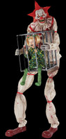 7' tall life Size Animated Cagey Clown holding Cage w/ Child Kid Halloween Prop