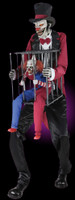 7' tall life Size Animated Cagey Ringmaster holding Cage w/ Clown Halloween Prop