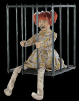 Life Size Animated Cagey Kid Caged Child Walk Around Halloween Prop Costume Accessory