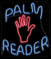 "Palm Reader Vibrant Glow Flickering Neon type LED  light 22"" Sign Halloween Prop Grave Decoration"