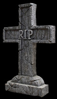 "24"" Rest In Peace Cross Graveyard Cemetery Halloween Tombstone Headstone Decor Prop"