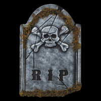 "22"" Skull Face RIP Graveyard Cemetery Halloween Tombstone Headstone Decor Prop"