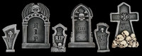 6 piece kit Graveyard Cemetery Halloween Tombstone Headstone Decor Prop