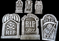 6 piece kit RIP Graveyard Cemetery Halloween Tombstone Headstone Decor Prop
