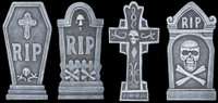 4 piece kit Graveyard Cemetery Halloween Tombstone Headstone Decor Prop