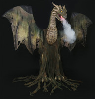 Life Size Animated 7' Magic Flying Dungeon Winter Forest Dragon Halloween Prop