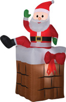 "Animated 60"" Santa Claus Climbing Chimney airblown Christmas Yard Decor"