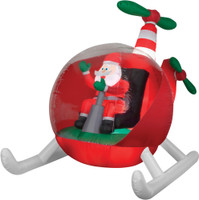 "Animated 102"" Santa Claus Helicopter airblown Christmas Yard Decor"