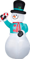 12' tall Lighted Snowman w/ Candy Cane air blown airblown Inflatable Christmas Yard Decor Decoration