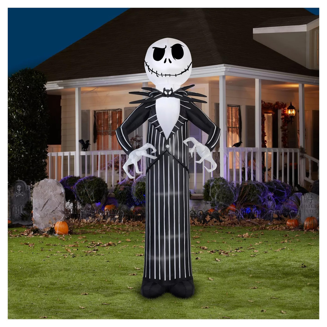 120 Tall Lighted Jack Skellington Giant Air Blown Airblown Inflatable Nightmare Before Christmas Yard Decor Outdoor Decoration