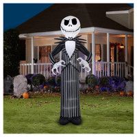 "120"" tall Lighted Jack Skellington Giant air blown airblown Inflatable Nightmare before Christmas Yard Decor Outdoor Decoration"