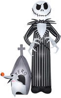 "108"" tall Lighted Jack Skellington and Zero Giant air blown airblown Inflatable Nightmare before Christmas Yard Decor Outdoor Decoration"
