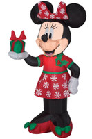 "42"" tall Lighted Minnie Mouse Disney w/ Present air blown airblown Inflatable Christmas Yard Decor Decoration"