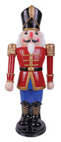 "36"" tall Animated Moves Lights Sounds Red/Bu Nutcracker Christmas Decor Decoration Prop"
