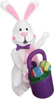 4ft Airblown Inflatable Pink Easter Inflate Bunny Rabbit w Basket Yard Decor Decoration